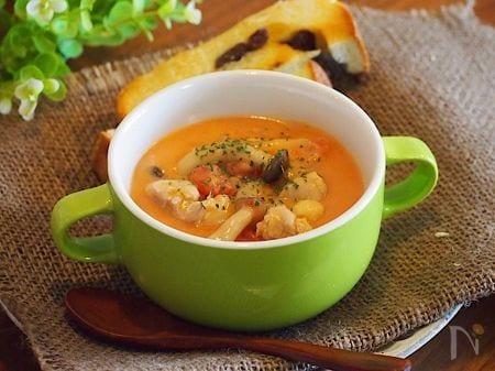 チキンとしめじのトマトクリームスープ