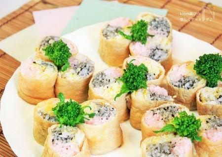 3. 稲荷寿司の3色巻き