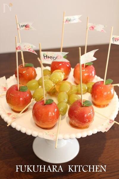 ミニふじりんごで作るりんご飴・ぶどう飴