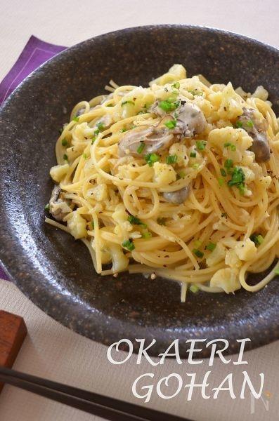 牡蠣とカリフラワーのバター醤油パスタ