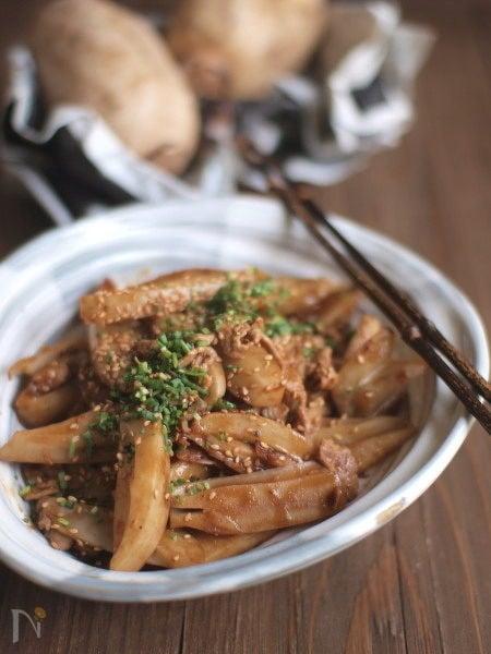 豚小間蓮根甜麺醤炒め。