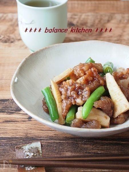 3. たけのこと豚肉の梅ダレ炒め