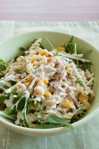 シャキシャキ水菜のマカロニサラダ からしマヨドレッシング