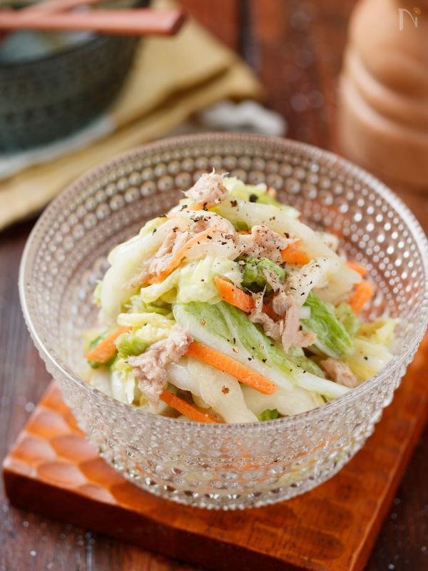 白菜とツナのさっぱりサラダ【#ポリ袋 #塩もみ不要】