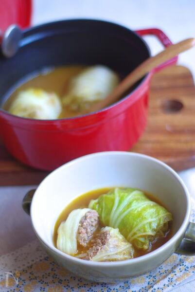カレースープのロール白菜