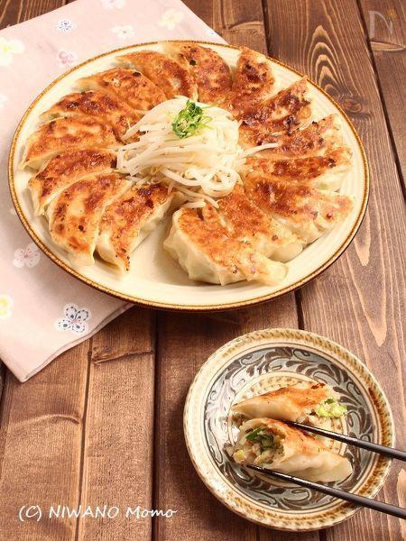 海老と豆腐のにら入り焼き餃子