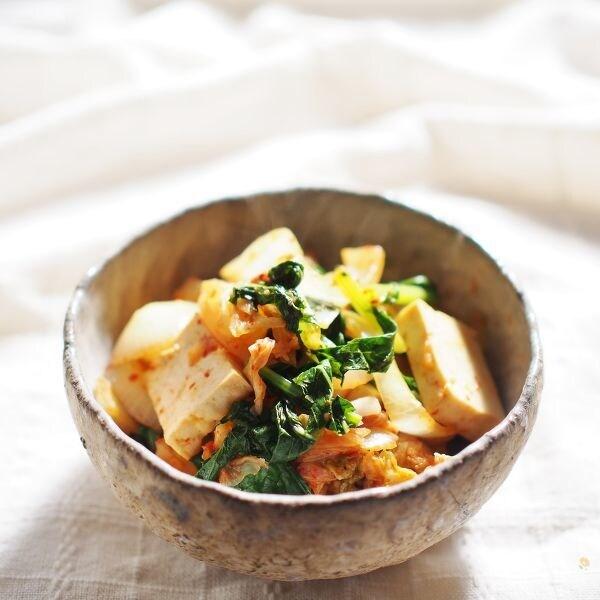 豆腐とキムチの炒め物