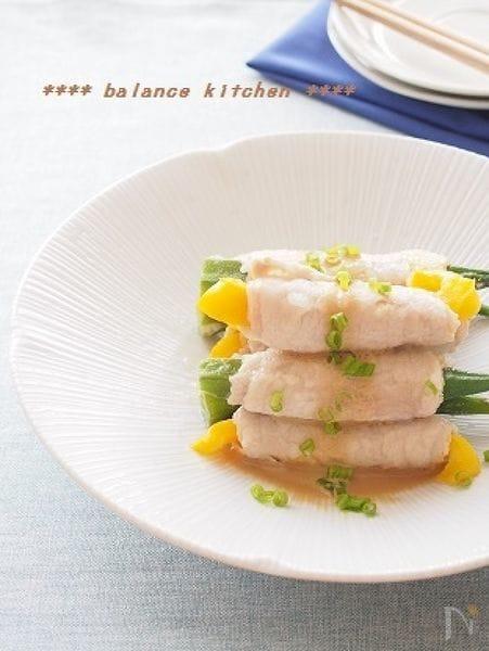 レンジでもしっとり!野菜のきつね肉巻き 絶品ゴマソース