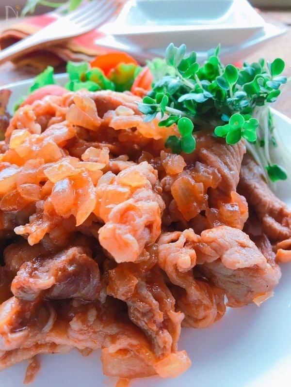 トマトソースみたいな♪豚コマ肉のケチャップ炒め