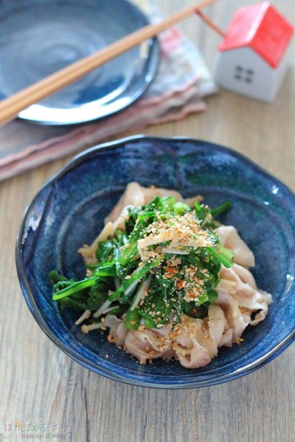 菊菜とえのきの肉和え
