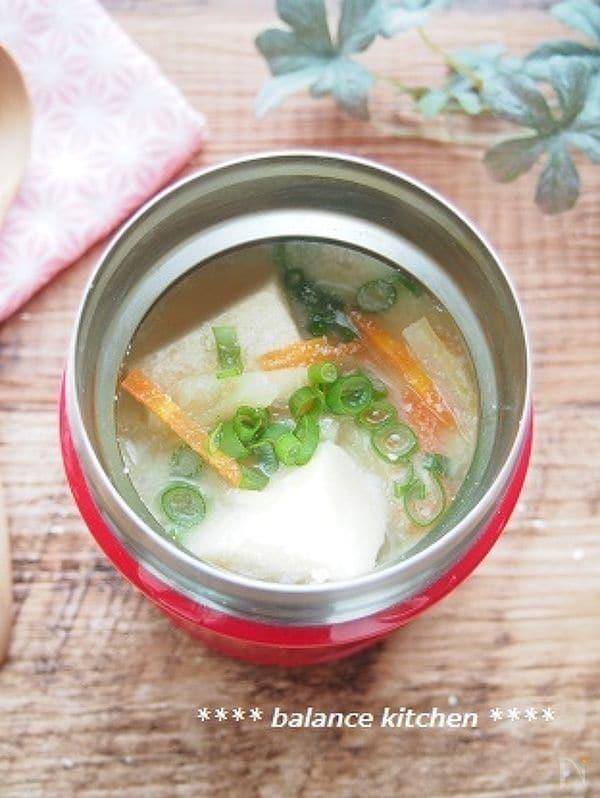 【スープジャー】高野豆腐とやさいの豆乳みそ汁