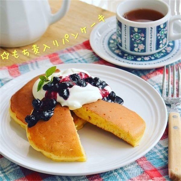 もち麦入りパンケーキ*腸活&カサ増しに!