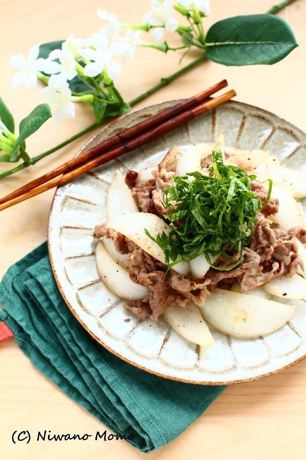 豚肉と新玉ねぎの大葉塩炒め
