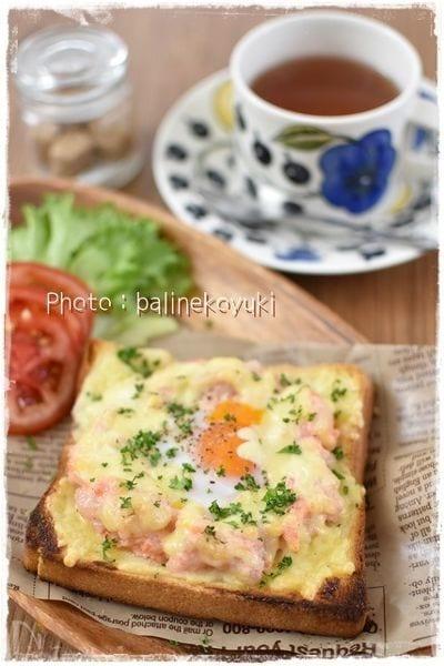 明太ポテトとチーズのの巣ごもりオープンサンド