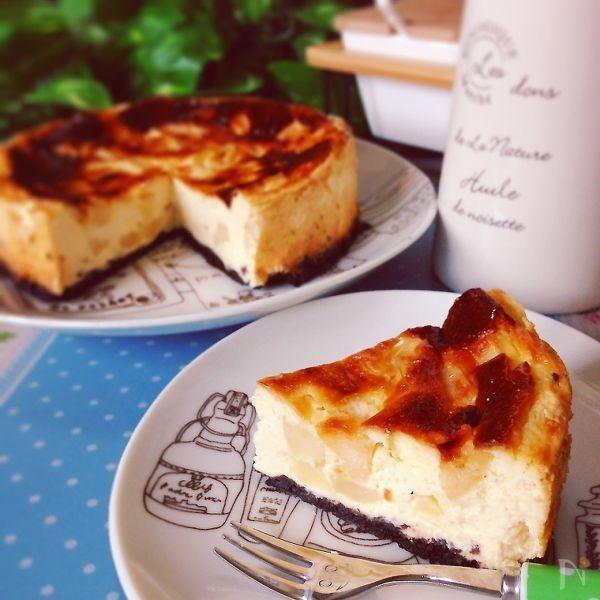 計り不要♪ゴロゴロりんごのヘルシーベイクドチーズケーキ風