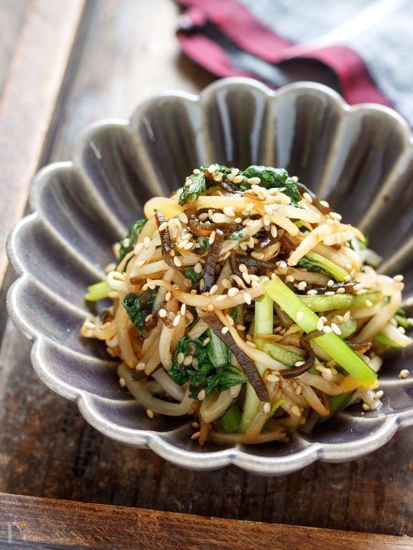 小松菜ともやしの塩昆布ナムル【#作り置き#包丁不要#ポリ袋】