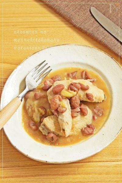 鶏手羽の金時豆ソース煮込み