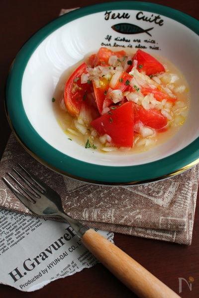 絶妙な甘みと酸味!【乱切りトマトのハチミツマリネ】