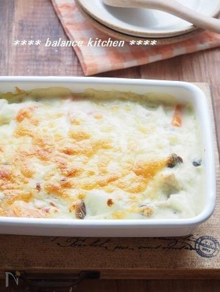 ダイエットに!根菜ときのこの豆乳グラタン