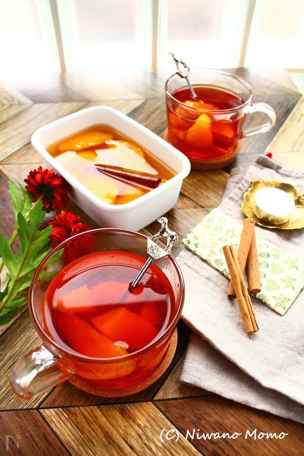 オレンジのスパイスシロップ煮 & オレンジティー