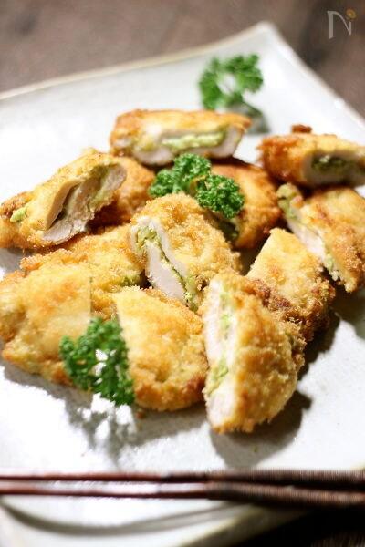 鶏胸肉のアボ明太子サンド揚げ焼き