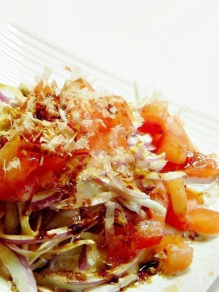 1 紫玉ねぎとトマトの和風サラダ