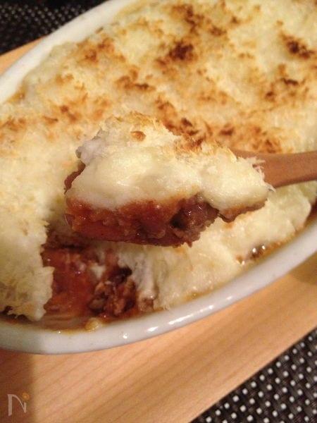 3種のお豆ミートソースとチーズマッシュポテトの重ね焼き