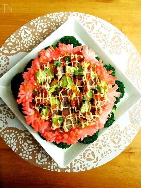 母の日にきらきらっと華やかケーキ寿司
