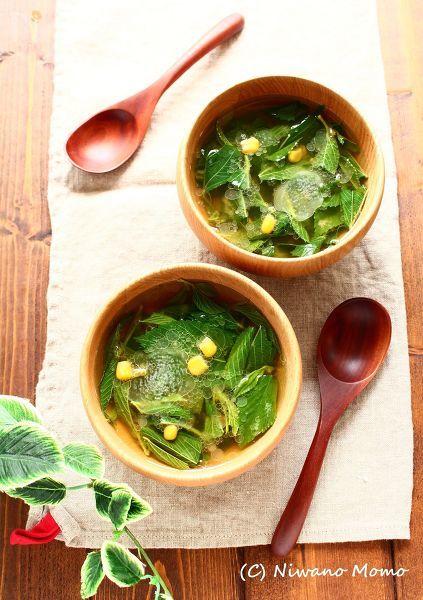 【包丁いらず】 モロヘイヤとコーンの味噌バタースープ