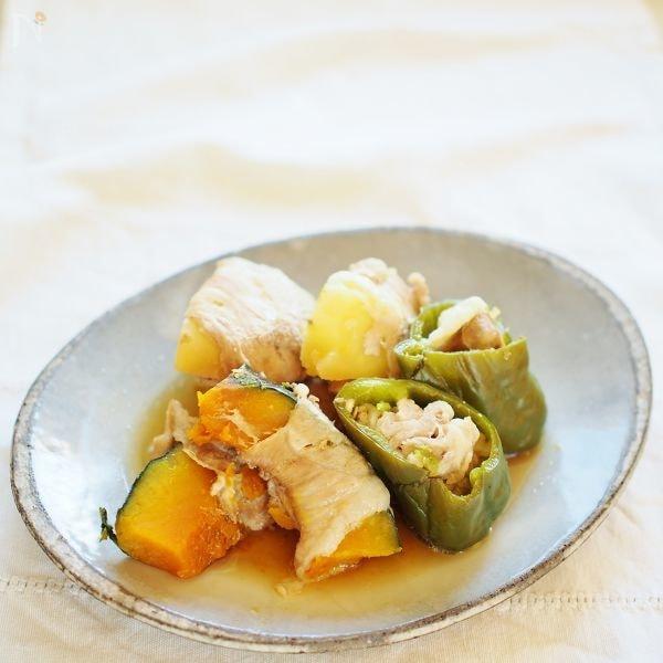 巻いたり詰めたり 薄切り肉と野菜の生姜醤油煮