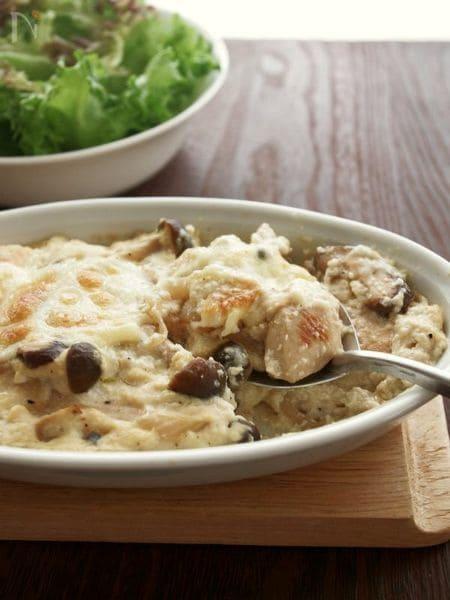クリームやバター不使用!鶏肉ときのこの豆腐クリームグラタン