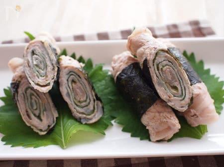 練り梅と味海苔でタレ不要!豚肉の梅シソ巻き