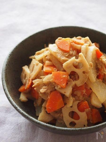 簡単常備菜!根菜のツナ味噌煮