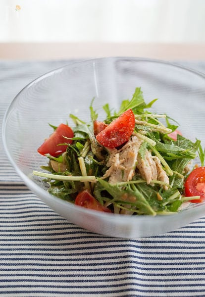 ささみと水菜のバンバンジー風サラダ