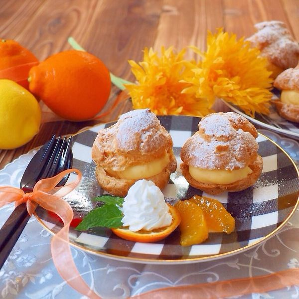 オレンジカスタードのシュークリーム