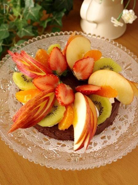 フルーツとガナッシュのクリスマスケーキ☆簡単・濃厚チョコ菓子