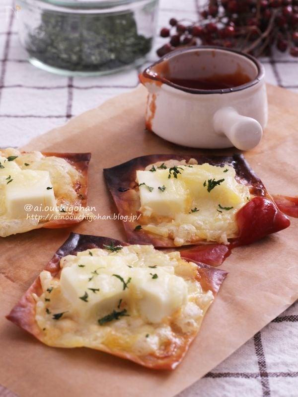 クリスマスのおつまみにも♡めんマヨdeワンタンチーズチップ♡