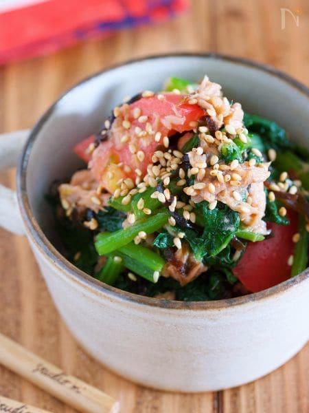 小松菜とツナの塩昆布サラダ
