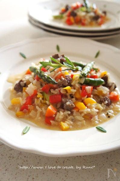 ジャスミン米と大麦de牛タン春色リゾット