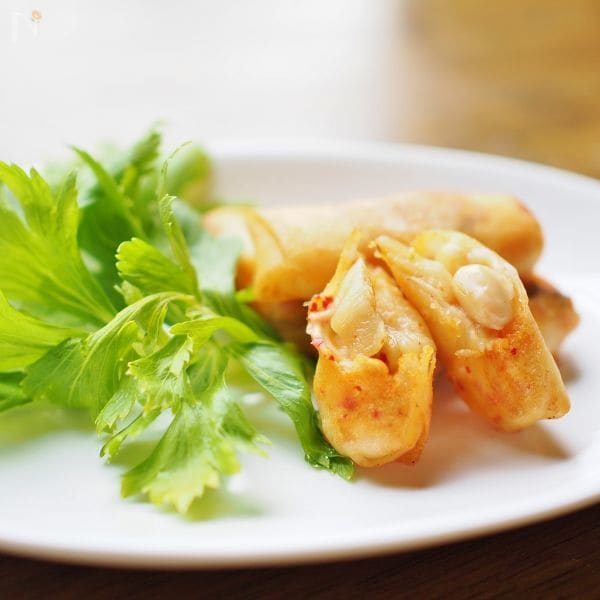 キムチーズと大豆のミニ春巻き