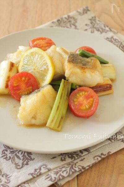白身魚と長ねぎのレモン醤油炒め