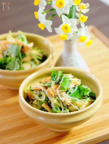 油揚げと香味野菜のサラダ