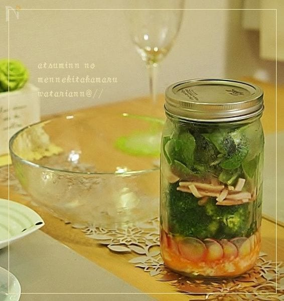 ジャーサラダ:ブロッコリーと人参の塩麹ドレッシング