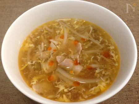 2.もやしと豚肉の酸辣湯