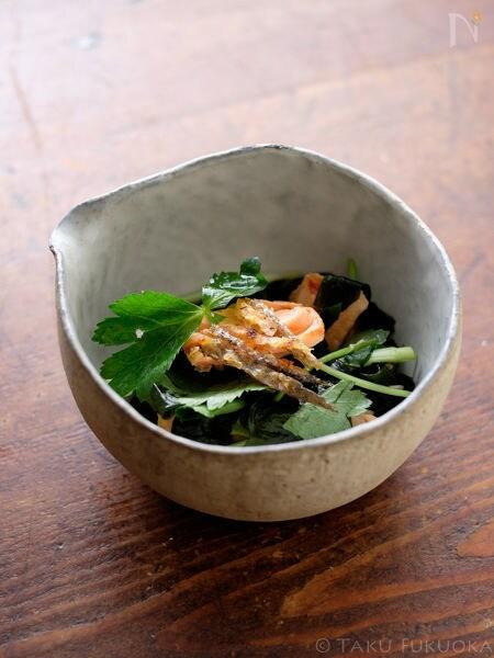 塩鮭とわかめの酢の物