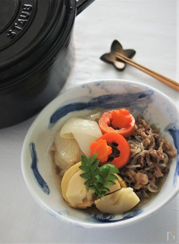 牛肉と筍と新玉ねぎのすき焼き風煮物