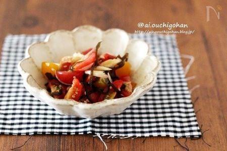 和えるだけなので超簡単♡ミニトマトとみょうがの塩昆布和え♡