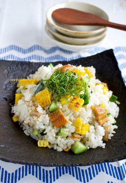 焼きとうもろこしとあなごのちらし寿司