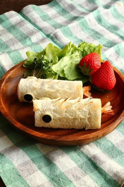 エビフライとチーズのこいのぼりサンド