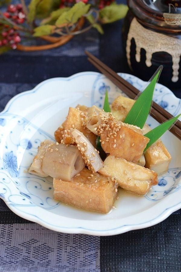 れんこんと厚揚げ豆腐の味噌煮込み【作りおき】